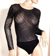BODY NERO donna maglietta manica lunga velata sottogiacca perle elegante G28