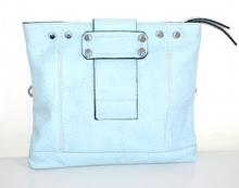 BORSELLO borsa donna azzurro celeste eco pelle tracolla chiodini argento F100