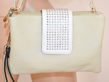 BORSELLO donna BIANCO AVORIO mini borsa pelle ecopelle borsetta clutch bag pochette сумка 800C