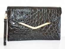 BORSELLO donna NERO borsa stampa cocco pelle lucida vernice pvc pochette tracolla a mano spalla Z3