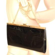 BORSELLO donna NERO ORO borsa elegante vernice lucida pvc eco pelle da sera 12N