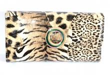 BORSELLO elegante donna PORTAFOGLIO MARRONE pochette sexy animalier pelle clutch bag 1260