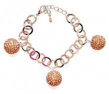 BRACCIALE ARGENTO CIONDOLI oro ambra donna charms sfere strass catena anelli V8