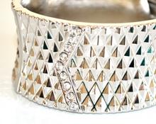 BRACCIALE ARGENTO donna STRASS ELEGANTE da cerimonia con cristalli RIGIDO a schiava bracelet 860
