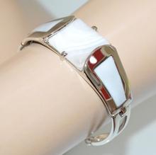 BRACCIALE argento pietra bianco grigio donna semi rigido elegante armband G5