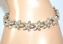 BRACCIALE CRISTALLI argento fiori donna elegante da cerimonia sposa bracelet F98