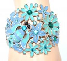 BRACCIALE cristalli AZZURRO CELESTE donna rigido argento fiori bracelet bransoletka NVA