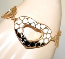 BRACCIALE CUORI donna oro dorato ciondoli bianco nero elegante san valentino G2