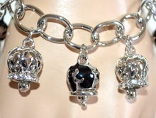 BRACCIALE donna argento ciondoli neri smaltati anelli lucidi  strass bracelet A62