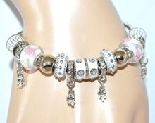 BRACCIALE donna argento CIONDOLI smaltato BIANCO brillantini STRASS bracelet 5X
