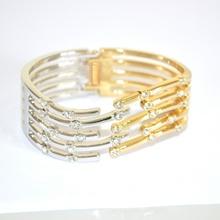 BRACCIALE donna ARGENTO ORO RIGIDO strass elegante CRISTALLI pulsera bracelet 320