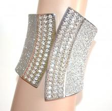 BRACCIALE donna argento rigido cristalli strass elegante a schiava brillantini sexy bracelet A72