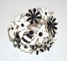 BRACCIALE donna BIANCO NERO rigido argento cristalli strass floreale bracelet armband NVA