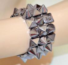 BRACCIALE donna GRIGIO borchie chiodini a molla polsiera elastica pulsera bracelet V3
