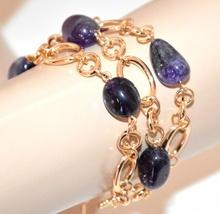 BRACCIALE donna PIETRE VIOLA ametista oro dorato catena anelli cerimonia bracelet G54