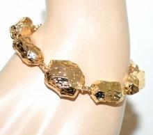 BRACCIALE ORO ciondoli pietre donna metallo dorato martellato gold bracelet BB37
