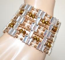BRACCIALE ORO donna polsiera fascia cristalli ambra bronzo elastico dorato armband BB3
