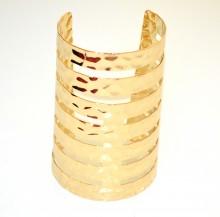 BRACCIALE ORO RIGIDO donna a schiava dorato metallo lucido sexy martellato G62