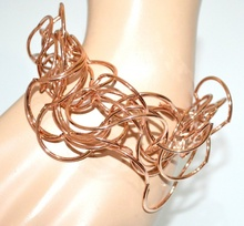 BRACCIALE oro rosa donna fili ondulati elegante  bracelet armband браслет g10