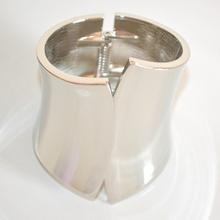BRACCIALE RIGIDO argento alto a schiava sexy donna ragazza metallo lucido A33