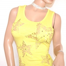 CANOTTA donna GIALLA top maglietta sottogiacca maglia giromanica girocollo perle chiodini F15
