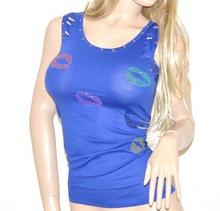 Canotta donna top BLU maglietta chiodini maglia sottogiacca sexy cotone 30