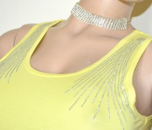 CANOTTA GIALLA donna top ricamato maglia strass t-shirt maglietta girocollo cotone G100