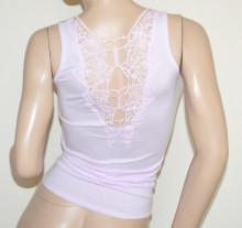 CANOTTA LILLA GLICINE donna top ricamato maglia strass t-shirt maglietta girocollo cotone G100