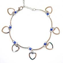 CAVIGLIERA donna sexy argento cristalli blu da sera ciondoli cuore anklet  idea regalo 5D