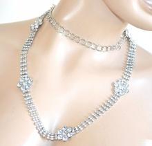 CINTURA ARGENTO strass cristalli donna fiori brillantini belt idea regalo F95