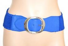 CINTURA BLU donna stringivita pelle fibbia argento elastica bustino a molla F15
