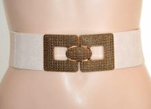 CINTURA donna BEIGE ORO stringivita elastica eco pelle bustino a molla corsetto G64