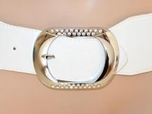 CINTURA donna BIANCA stringivita fibbia argento strass bustino belt ceinture A10