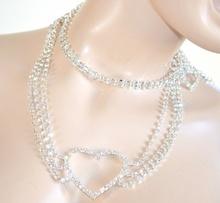 CINTURA gioiello ARGENTO donna CUORE strass CRISTALLI sposa elegante damigella cerimonia belt H3