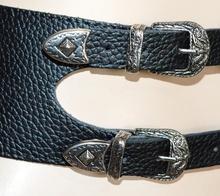 CINTURA NERA stringivita bustino donna ecopelle fibbie argento sexy elastica A34