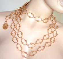 CINTURA ORO gioiello donna collana stringivita dorata lucida catena anelli metallo пояс PX1
