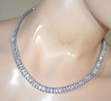 COLLANA ARGENTO donna CRISTALLI girocollo strass collier collarino sposa necklace crystals D10