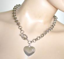 COLLANA ARGENTO donna girocollo collier charms catena metallo ciondolo cuore strass anelli N47