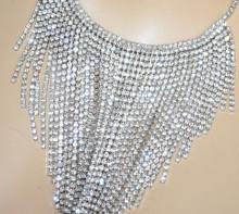 COLLANA donna argento strass girocollo collier fili cristalli elegante cerimonia BB30