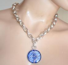 COLLANA donna ciondolo pietra blu girocollo argento platino catena anelli medaglione GT2