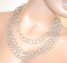 COLLANA donna girocollo ARGENTO anelli diamantata collier halsband colar F200