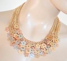 COLLANA donna GIROCOLLO catena ORO dorato ciondoli fiori argento rosa elegante cerimonia N37