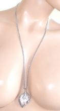 COLLANA donna LUNGA girocollo ARGENTO CIONDOLO elegante da cerimonia STRASS brillantini halsband 965