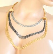 COLLANA donna oro dorato argento grigio multi fili girocollo anelli elegante cerimonia necklace collier A40