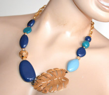 COLLANA donna pietre blu azzurro celeste ciondolo foglia girocollo catena oro dorata S18
