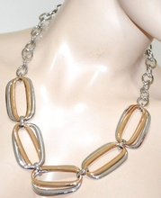 COLLANA girocollo donna argento oro dorato anelli collier elegante cerimonia G14