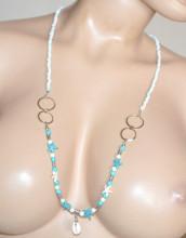 COLLANA LUNGA donna bianca azzurra ciondoli stelle mare conchiglia perline N89