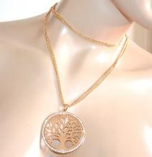 COLLANA lunga donna oro girocollo fili ciondolo albero dorata strass regalo A1