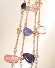 COLLANA LUNGA donna oro pietre rosa corallo viola lilla catena multi fili BB14
