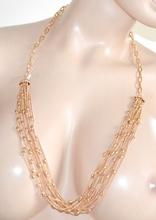 COLLANA LUNGA donna ORO strass pietre maglia anelli elegante da cerimonia collier E23